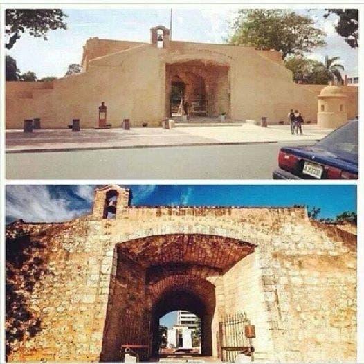 Puerta del Conde antes y después del empañete,