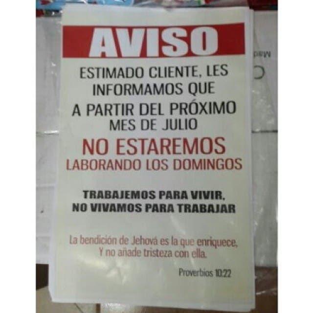 Supermercados y almacenes de San Cristóbal no abrirán los domingos