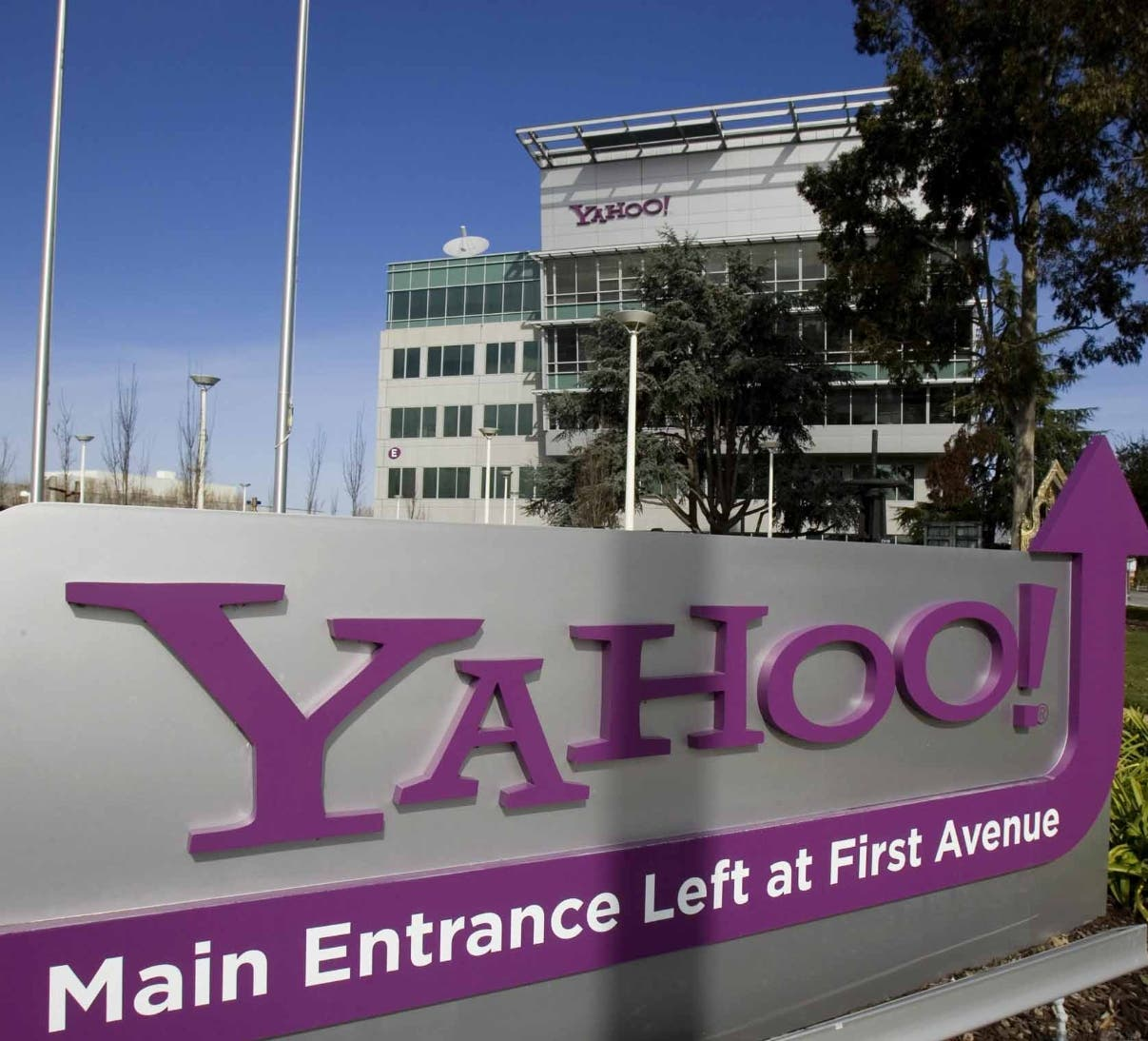 File photo of a Yahoo! signs out front of their headquarters in Sunnyvale