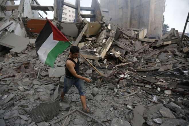 PALESTINO-GAZA-DESTRUCCIÓN-CELEBRACIÓN