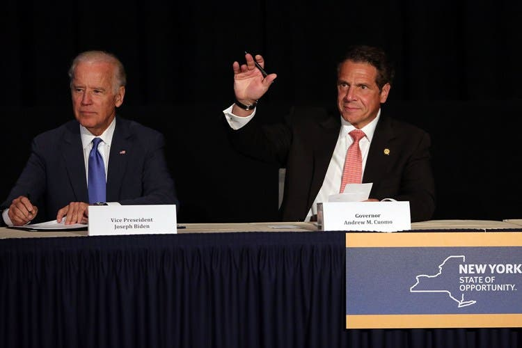 NEW YORK, NY - JULY 27: Vice President Joe Biden (L) appears with New York Gov. Andrew Cuomo to unveil plans for new area infrastructure projects on July 27, 2015 in New York City. The highlight of the event was an announcement that a new LaGuardia airport will be built, with construction starting next year. The new facility will will feature state-of-the-art security, transportation and shopping and dining options. The project is estimated to bring 8,000 new jobs to the area.   Spencer Platt/Getty Images/AFP== FOR NEWSPAPERS, INTERNET, TELCOS & TELEVISION USE ONLY ==