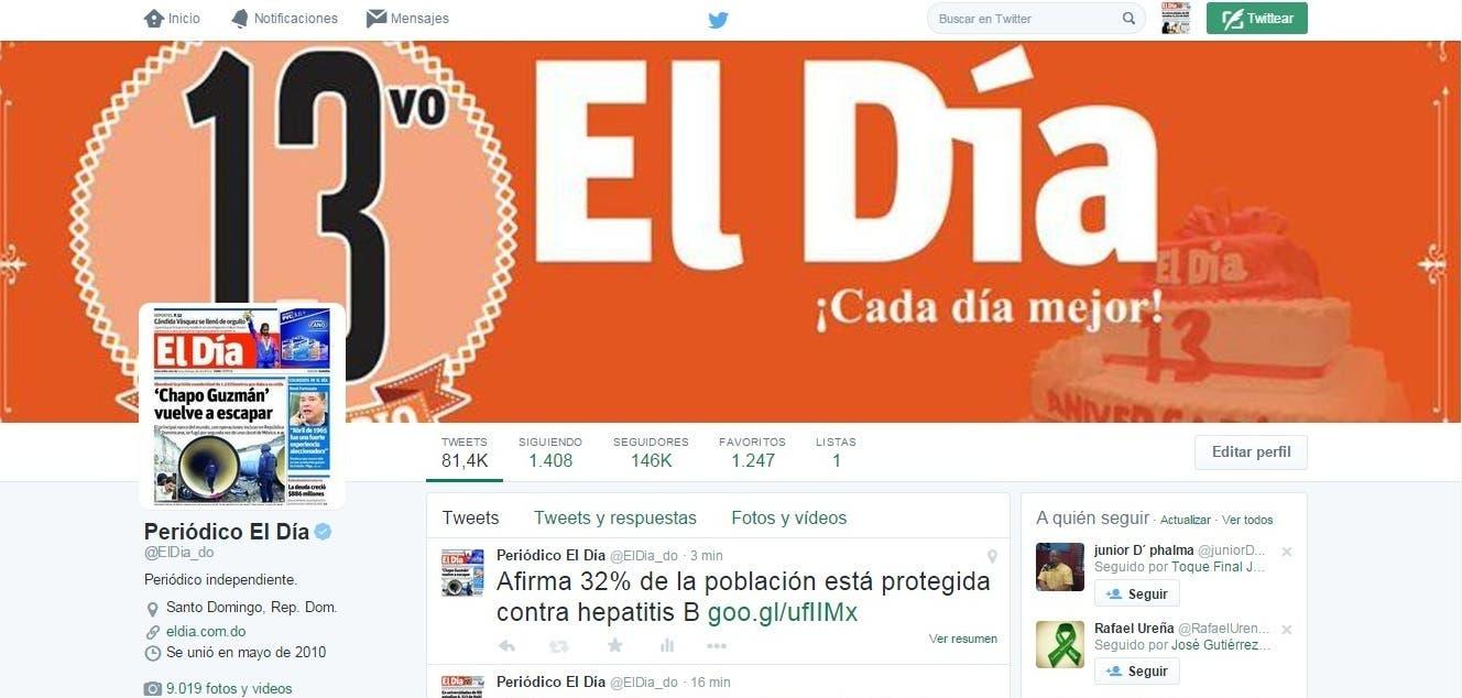Perfil de El Día en Twitter.