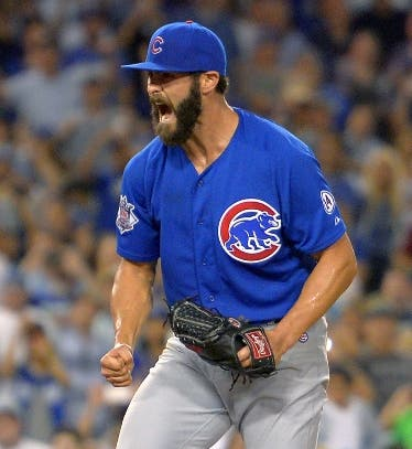 Chicago Cubs starting pitcher Jake Arrieta celebrates after completing a no-hitter in a baseball game against the Los Angeles Dodgers, Sunday, Aug. 30, 2015, in Los Angeles. The Cubs won 2-0. (AP Photo/Mark J. Terrill)