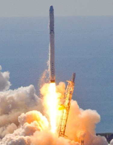 """Space X's Falcon 9 rocket as it lifts off from space launch complex 40 at Cape Canaveral, Florida June 28, 2015 with a Dragon CRS7 spacecraft.  The unmanned SpaceX Falcon 9 rocket exploded minutes after liftoff from Cape Canaveral, Florida, following what was meant to be a routine cargo mission to the International Space Station. """"The vehicle has broken up,"""" said NASA commentator George Diller, after NASA television broadcast images of the white rocket falling to pieces. """"At this point it is not clear to the launch team exactly what happened."""" The disaster was the first of its kind for the California-based company headed by Internet entrepreneur Elon Musk, who has led a series of successful launches even as competitor Orbital Sciences lost one of its rockets in an explosion in October, and a Russian supply ships was lost in April. SpaceX's live webcast of the launch went silent about two minutes 19 seconds into the flight, and soon after the rocket could be seen exploding and small pieces tumbling back toward Earth.     AFP PHOTO/ BRUCE WEAVER"""