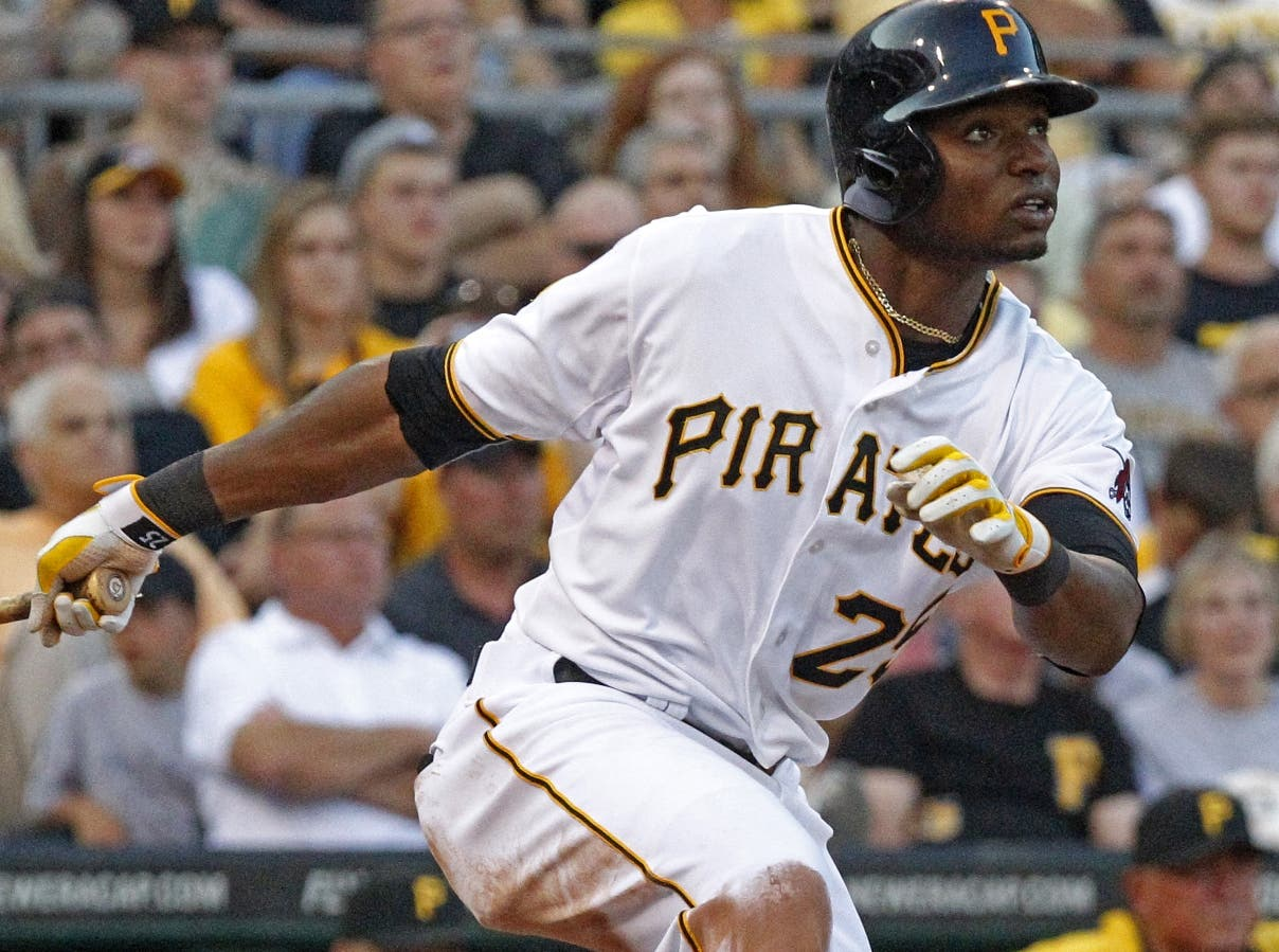 Pittsburgh Pirates' Gregory Polanco hits a two-run home run off Arizona Diamondbacks starting pitcher Chase Anderson during the second inning of a baseball game in Pittsburgh, Wednesday, July 2, 2014. (AP Photo/Gene J. Puskar)