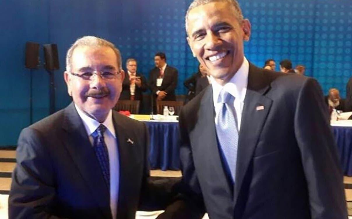El Presidente Danilo Medina junto al Presidente de los Estados Unidos Barack Obama.Hoy/Fuente Externa 10/4/15