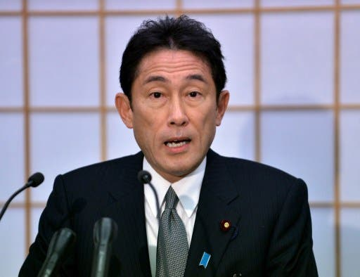 """Japanese Foreign Minister Fumio Kishida speaks before the press at his office in Tokyo on January 8, 2013. Tokyo summoned the Chinese ambassador on January 8 for the first time under the new nationalist government to """"strongly protest"""" against the presence of official ships in waters around disputed islands.   AFP PHOTO / Yoshikazu TSUNO"""