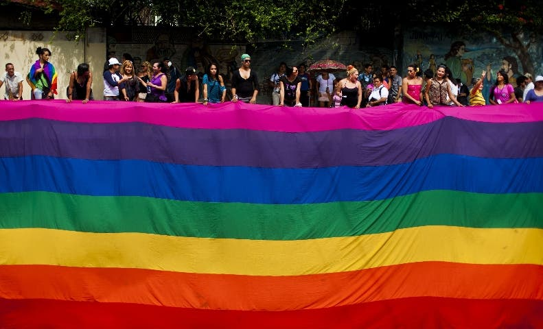 Gay rights activists participate in a demonstration marking the International Day Against Homophobia and Transphobia (IDAHOT) in San Salvador, on May 17, 2014. The 9th annual event, billed by organisers as the biggest LGBT solidarity event in the world, is aimed at raising awareness about discrimation and calling for equal rights. AFP PHOTO / Jose CABEZAS
