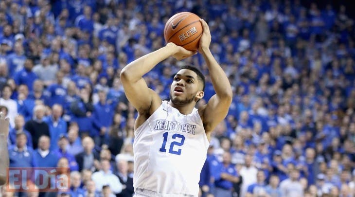 LEXINGTON, KY - MARCH 07: Karl-Anthony Towns #12 of the Kentucky Wildcats shoots the ball during the game against the Florida Gators at Rupp Arena on March 7, 2015 in Lexington, Kentucky.   Andy Lyons/Getty Images/AFP == FOR NEWSPAPERS, INTERNET, TELCOS & TELEVISION USE ONLY ==