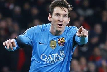 Lionel Messi celebra después de meter un gol.
