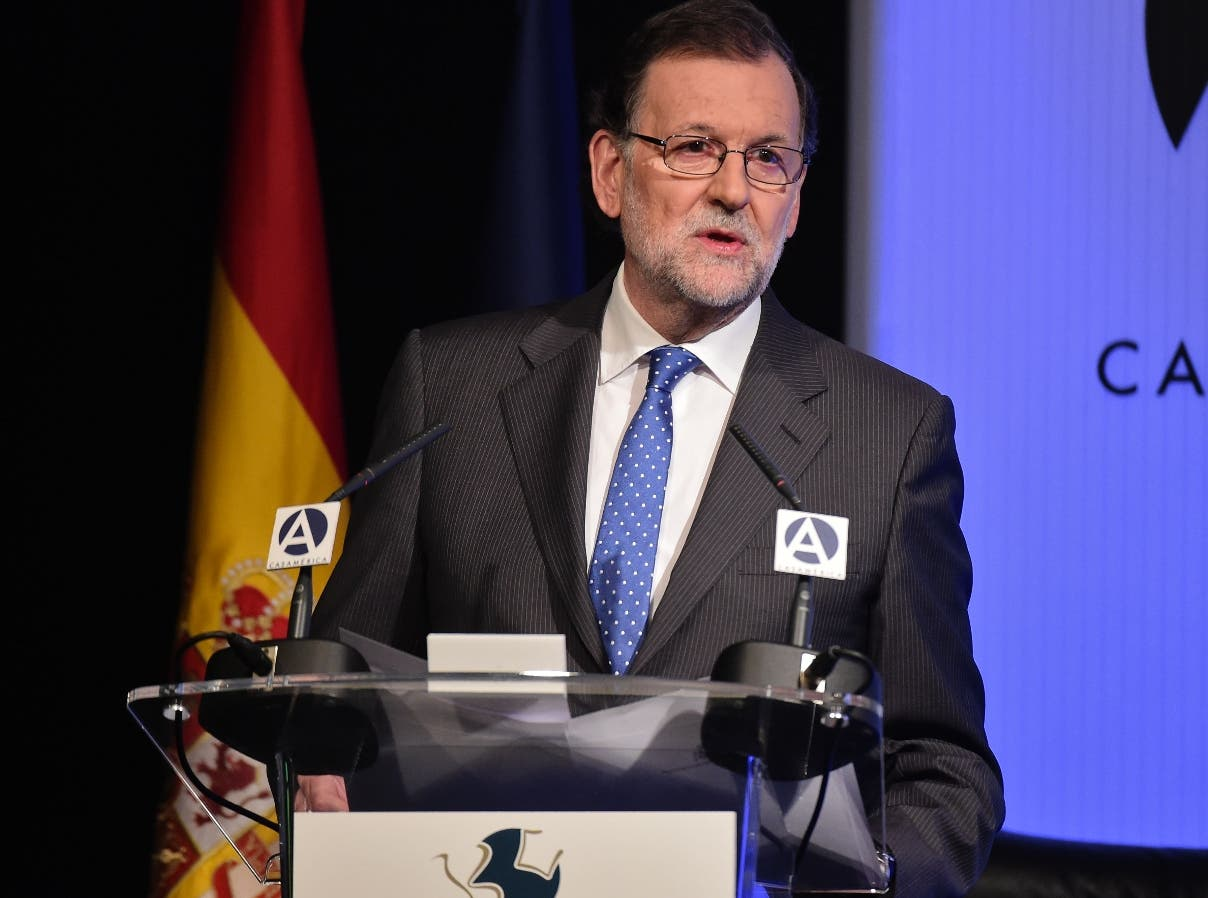 """Spain' Prime Minister Mariano Rajoy delivers a speech at the start of a seminar titled """"Vargas Llosa: Culture, ideas and freedom"""" as part of the celebrations of the 80th birthday of Peruvian writer and recipient of the 2010 Nobel Prize in Literature Mario Vargas Llosa, at Casa de America prior to , in Madrid on March 29, 2016. / AFP / JAVIER SORIANO"""