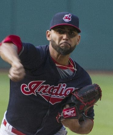 Cleveland Indians Danny Salazar delivers to the Cincinnati Reds Zack Cozart during the first inning of a baseball game in Cleveland, Tuesday, May 17, 2016. (AP Photo/Phil Long)