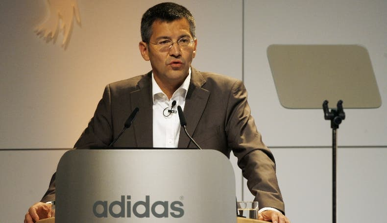 Herbert Hainer, CEO of Adidas, the world's second biggest sports goods group, delivers a speech during the company's annual general meeting on May 8, 2008 in Fuerth, southern Germany. Adidas posted a higher first quarter profit, but its struggling Reebok brand saw orders fall by 22 percent. Adidas' net profit gained 32 percent to 169 million euros (262 million dollars) as it cut costs and reaped the benefit of the strong euro-dollar exchange rate in deals with suppliers, a company statement said.   AFP PHOTO   DDP/ TIMM SCHAMBERGER    GERMANY OUT