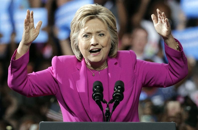 Democratic presidential candidate Hillary Clinton speaks at a campaign rally in Charlotte, N.C., Tuesday, July 5, 2016 with President Barack Obama. (AP Photo/Chuck Burton)