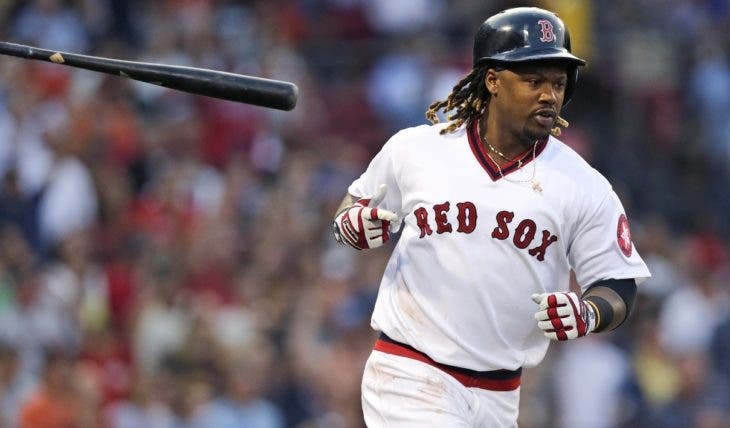 Boston Red Sox's Hanley Ramirez tosses his bat while rounding first after his two run, home run off San Francisco Giants starting pitcher Matt Cain during second inning of a baseball game at Fenway Park, Wednesday, July 20, 2016, in Boston. (AP Photo/Charles Krupa)
