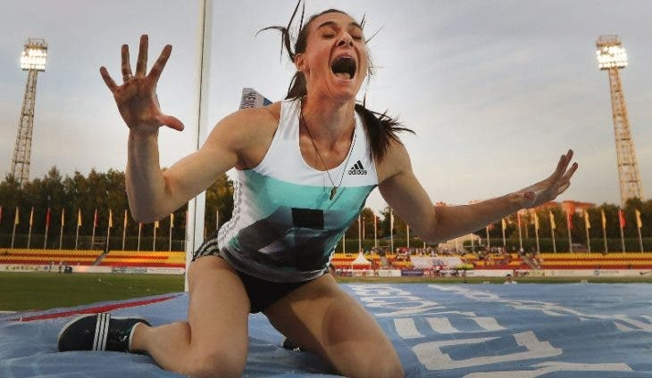 (FILES) This file photo taken on June 21, 2016 shows Russian pole vaulter Yelena Isinbayeva reacting during a national Athletics Championship in Cheboksary. The Court of Arbitration for Sport on July 21 dismissed a Russian appeal against a ban imposed by athletics governing body over state-run doping that rules the country out of the Rio Olympics track and field. The decision Thursday will now see Russian athletics stars such as pole vaulter Yelena Isinbayeva and hurdler Sergey Shubenkov miss out on Rio. / AFP / Alexander KISILEV