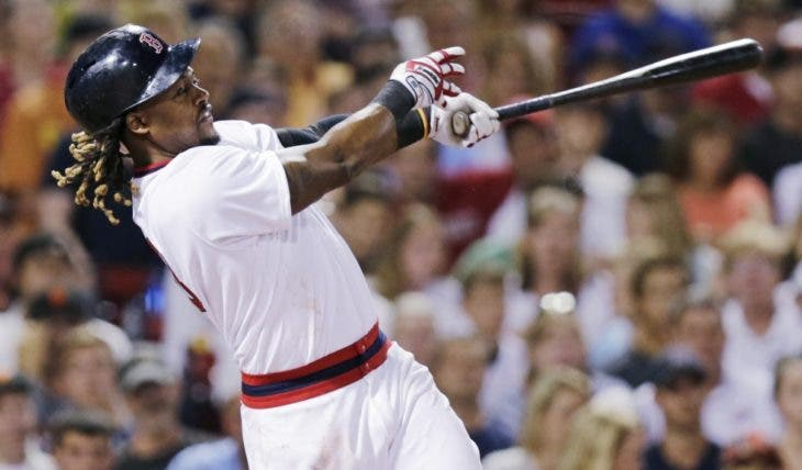 Boston Red Sox's Hanley Ramirez follows through on his third, two-run home run of the baseball game against the San Francisco Giants during the sixth inning at Fenway Park, Wednesday, July 20, 2016, in Boston. (AP Photo/Charles Krupa)