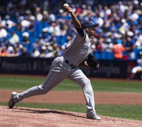 San Diego Padres pitcher Luis Perdomo throws against the Toronto Blue Jays during the first inning of a baseball game in Toronto, Wednesday, July 27, 2016. (Aaron Vincent Elkaim via AP)