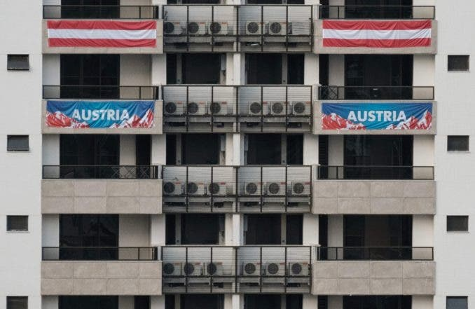 View of balconies of the Austrian team's apartments at the Olympic and Paralympic Village for the 2016 Rio Olympic Games in Rio de Janeiro, Brazil, on July 23, 2016.  / AFP / YASUYOSHI CHIBA