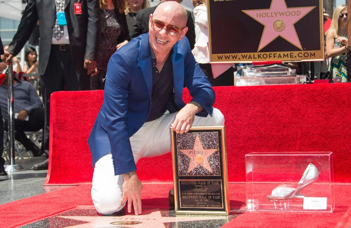 Singer Pitbull poses as he is honored with a star on the Hollywood Walk of Fame, July 15, 2016, in Hollywood, California. / AFP / VALERIE MACON