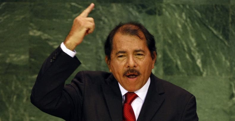 Daniel Ortega Saavedra, President of the Republic of Nicaragua  addresses the 62nd session of the United Nations General Assembly at the UN in New York 25 September 2007. AFP PHOTO/TIMOTHY A. CLARY