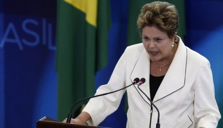 rousseff Brazilian President Dilma Rousseff delivers a speech during the inauguration ceremony of new ministers at Planalto Palace in Brasilia, on February 03, 2014. The new ministers are Aloizio Mercadante of Civilian Household, Henrique Paim of Education, Arthur Chioro of Health and Thomas Traumann as presidency spokesperson.  AFP PHOTO/Beto BARATA