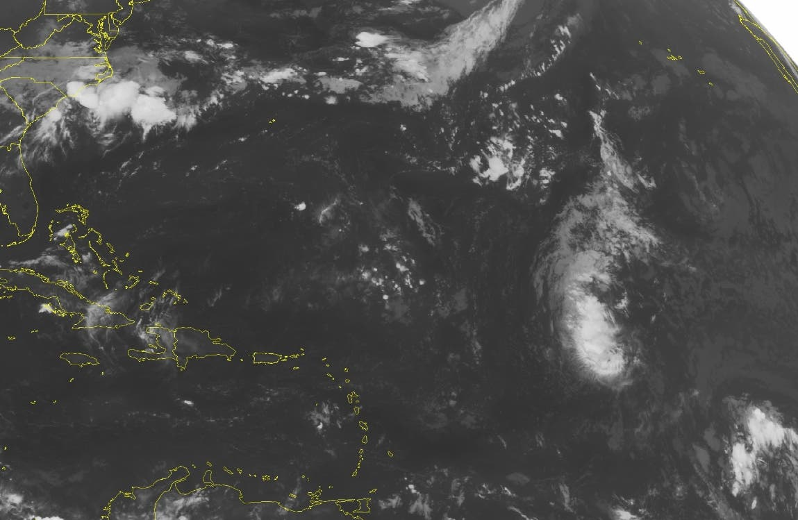 This NOAA satellite image taken Saturday, Aug. 20, 2016 at 12:45 AM EDT shows mostly clear skies throughout the Caribbean region. Tropical Storm Fiona can be seen in the distant northeast and is expected to stay away from the Islands.  (Weather Underground via AP)