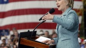 Sen. Hillary Clinton, D-N.Y., addresses a rally of Barack Obama supporters Monday, Oct. 13, 2008 in Horsham, Pa. (AP Photo/Bradley C Bower)