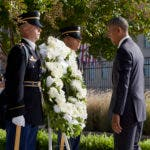 President Barack Obama pauses as he lays a wreath during a memorial observance ceremony at the Pentagon, Sunday, Sept. 11, 2016, to commemorate the 15th anniversary of the 9/11 terrorist attacks. (AP Photo/Manuel Balce Ceneta)