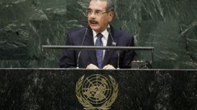 Dominican Republic President Danilo Medina addresses the 69th session of the United Nations General Assembly Wednesday, Sept. 24, 2014, at U.N.headquarters. (AP Photo/Frank Franklin II)