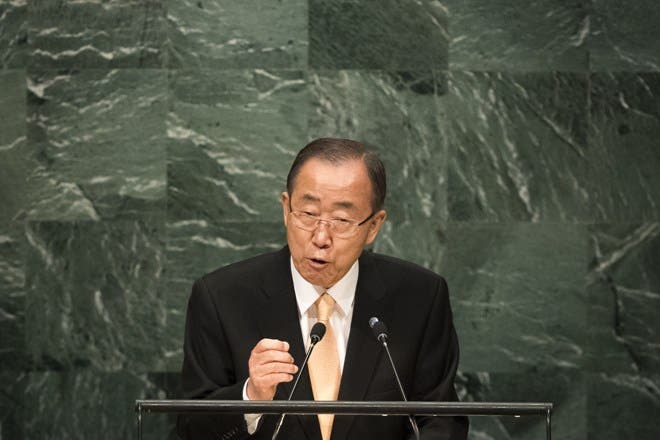 NEW YORK, NEW YORK - SEPTEMBER 20: U.N. Secretary General Ban Ki-moon addresses the United Nations General Assembly at UN headquarters, September 20, 2016 in New York City. According to the UN Secretary-General Ban ki-Moon, the most pressing matter to be discussed at the General Assembly is the world's refugee crisis.   Drew Angerer/Getty Images/AFP == FOR NEWSPAPERS, INTERNET, TELCOS & TELEVISION USE ONLY ==