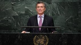 Argentina's President Mauricio Macri addresses the 71st session of the United Nations General Assembly at the UN headquarters in New York on September 20, 2016.   / AFP / Jewel SAMAD