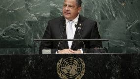 Costa Rica's President Luis Guillermo Solis speaks during the 71st session of the United Nations General Assembly, Tuesday, Sept. 20, 2016, at U.N. headquarters. (AP Photo/Frank Franklin II)