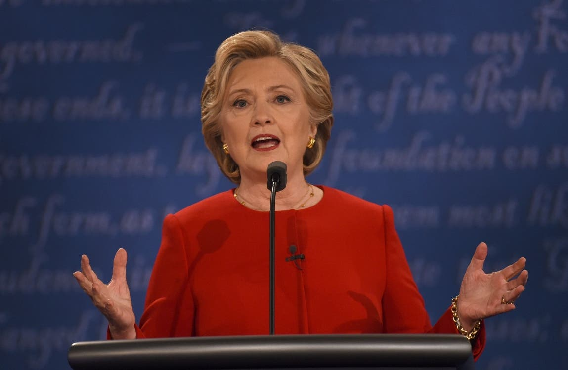 Democratic nominee Hillary Clinton speaks  during the first presidential debate at Hofstra University in Hempstead, New York on September 26, 2016. / AFP / Timothy A. CLARY
