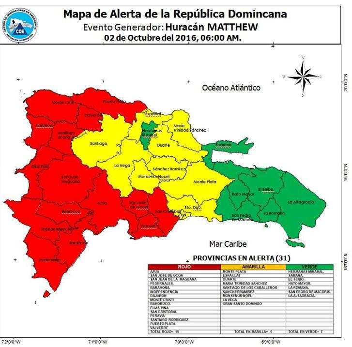 COE:  15 provincias en alerta roja, 9 en amarilla y 7 en verde por Matthew