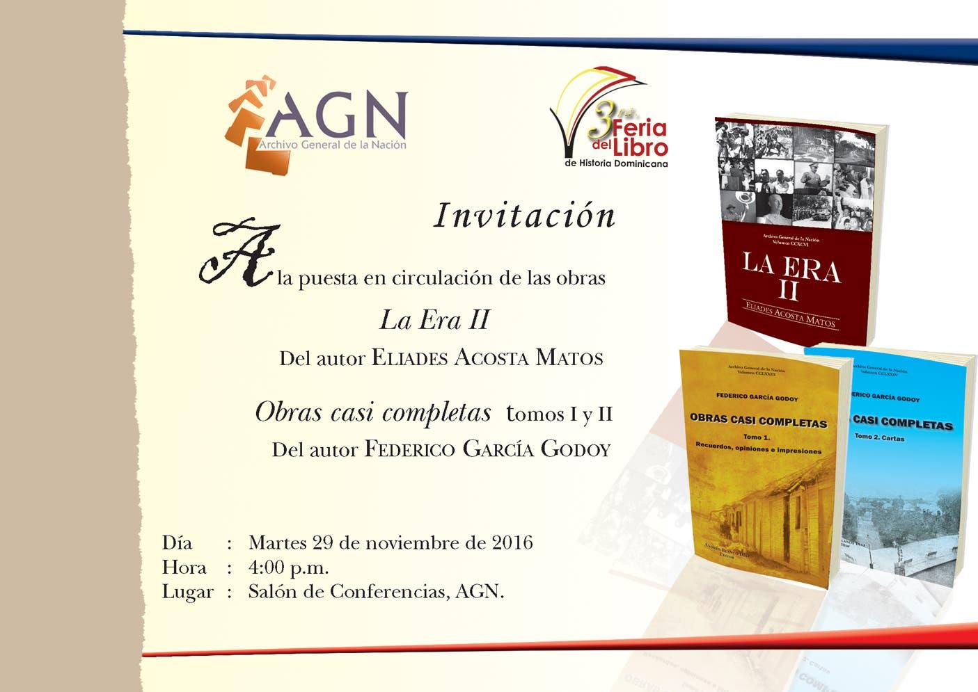 Archivo General de la Nación presenta hoy nuevos libros