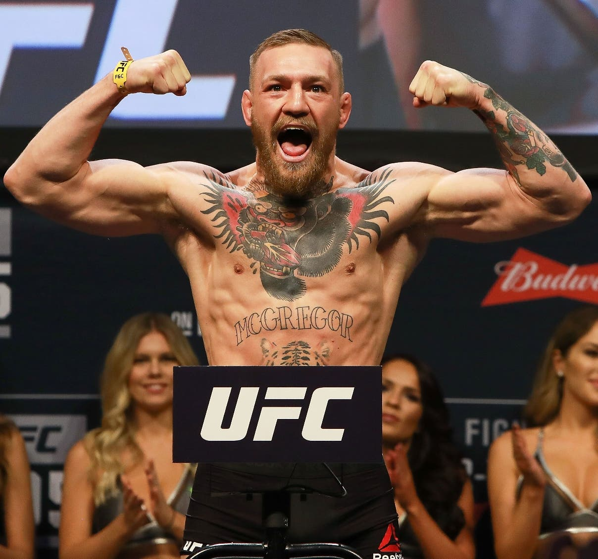 (FILES) This file photo taken on November 10, 2016 shows UFC Featherweight Champion Conor McGregor during UFC 205 Weigh-ins at Madison Square Garden in New York.    Mixed martial arts superstar Conor McGregor has been issued a boxing license in the state of California, US media reported December 30, 2016 in a development sure to revive talk of a McGregor-Floyd Mayweather meeting in the ring. ESPN and MMAjunkie.com reported that the California State Athletic Commission had confirmed a license was issued to McGregor.  / AFP / GETTY IMAGES NORTH AMERICA / Michael Reaves