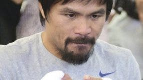 Manny Pacquiao trains for his upcoming fight at the Wild Card Boxing Club in Hollywood, California on April 15, 2015. The Filipino Congressman and world champion boxer will fight Floyd Mayweather in Las Vegas, Nevada, on May 2 in what is being billed as the 'Fight of the Century', between the first and only eight-division world champion Pacquiao and undefeated five-division world champion Mayweather. AFP PHOTO / FREDERIC J. BROWN