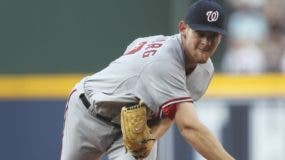 Washington Nationals starter Stephen Strasburg works in the first inning during a baseball game against the Atlanta Braves on Monday, June 28,  2010 in Atlanta. (AP Photo/John Bazemore)