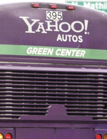 A Yahoo bio-diesel bus takes Yahoo workers from Yahoo headquarters in Sunnyvale, Calif., Jan. 28, 2008. Yahoo, Inc. is expected to release quarterly earnings after the closing bell Tuesday. (AP Photo/Paul Sakuma)