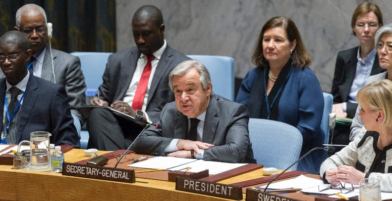 "In this January 10, 2017 United Nations handout photo, Secretary General António Guterres addresses the Security Council ministerial-level open debate on conflict prevention and sustaining peace. Guterres on Tuesday called for a ""whole new approach"" to prevent war, in his first address to the Security Council since taking office. Guterres took over from Ban Ki-moon on January 1 with a promise to shake up the world body and boost efforts to tackle global crises, from the carnage in Syria to the bloodshed in South Sudan.  - RESTRICTED TO EDITORIAL USE - MANDATORY CREDIT ""AFP PHOTO / UNITED NATIONS RICK BAJORNAS"" - NO MARKETING - NO ADVERTISING CAMPAIGNS - DISTRIBUTED AS A SERVICE TO CLIENTS    / AFP / UNITED NATIONS / Rick BAJORNAS / RESTRICTED TO EDITORIAL USE - MANDATORY CREDIT ""AFP PHOTO / UNITED NATIONS RICK BAJORNAS"" - NO MARKETING - NO ADVERTISING CAMPAIGNS - DISTRIBUTED AS A SERVICE TO CLIENTS"