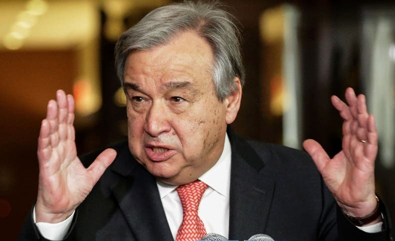 """(FILES) This file photo taken on April 12, 2016 shows Antonio Guterres as he speaks to reporters on the selection of the next UN Secretary-General  at the UN headquarters in New York. Antonio Guterres, Portugal's former prime minister who was the UN's refugee chief for 10 years, took the lead in the first straw poll vote on July 21, 2016 to pick the next UN secretary-general, diplomats said. Slovenia's former president Danilo Turk came second in the secret vote by the UN Security Council to choose a successor to Ban Ki-moon. """"Guterres is the man to beat,"""" a Security Council diplomat told AFP. """"He has done very well.""""   / AFP / KENA BETANCUR"""