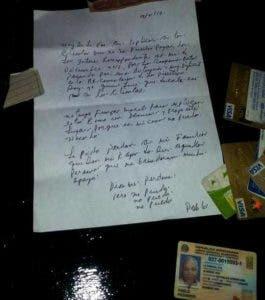 Carta dejada por el suicida.