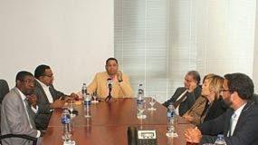 El director de la ONDA, Trajano Santana, se dirige a los representantes de las sociedades de derecho de autor.