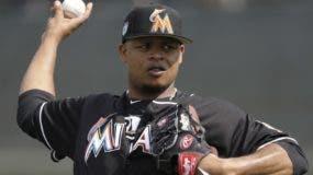 El lanzador Edinson Vólquez de los Marlins de Miami. Foto de archivo.