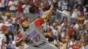 Dominican Republic relief pitcher Jeurys Familia (27) celebrates after the Dominican Republic defeated Colombia 10-3 in eleven innings in a first-round game of the World Baseball Classic, Sunday, March 12, 2017, in Miami. (AP Photo/Lynne Sladky)