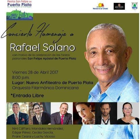 Destacados artistas y la orquesta filarmónica nacional realizaran homenaje a Rafael Solano en Puerto Plata