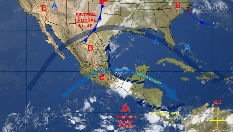 Pronósticos anteriores señalaban que el sábado Adrián se convertiría en huracán categoría 1.