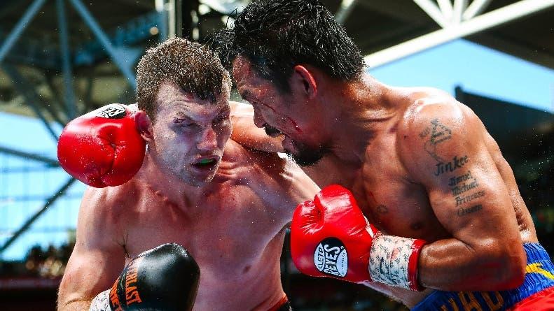El australiano Jeff Horn y Manny Pacquiao en un intercambio.