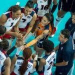 Las jugadoras dominicanas celebran luego de la victoria.